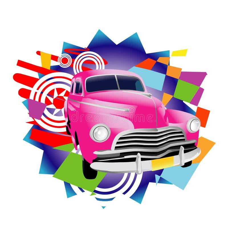 Carro tropical do vintage ilustração stock
