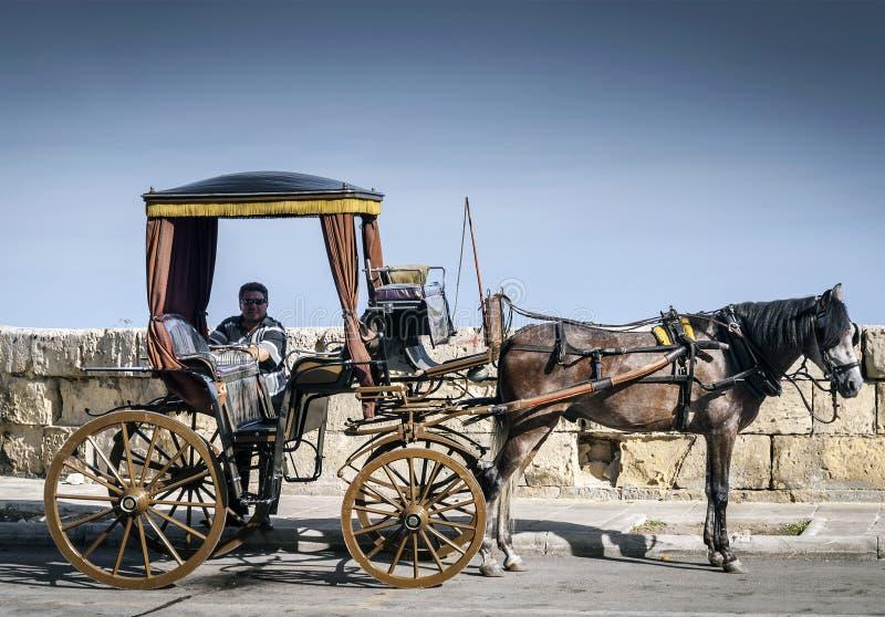 Carro turístico del caballo en el la viejo La Valeta Malta de la calle de la ciudad imagenes de archivo