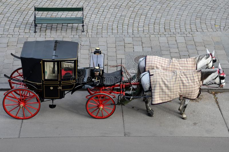 Carro turístico rojo negro del caballo - Viena, Austria imagen de archivo