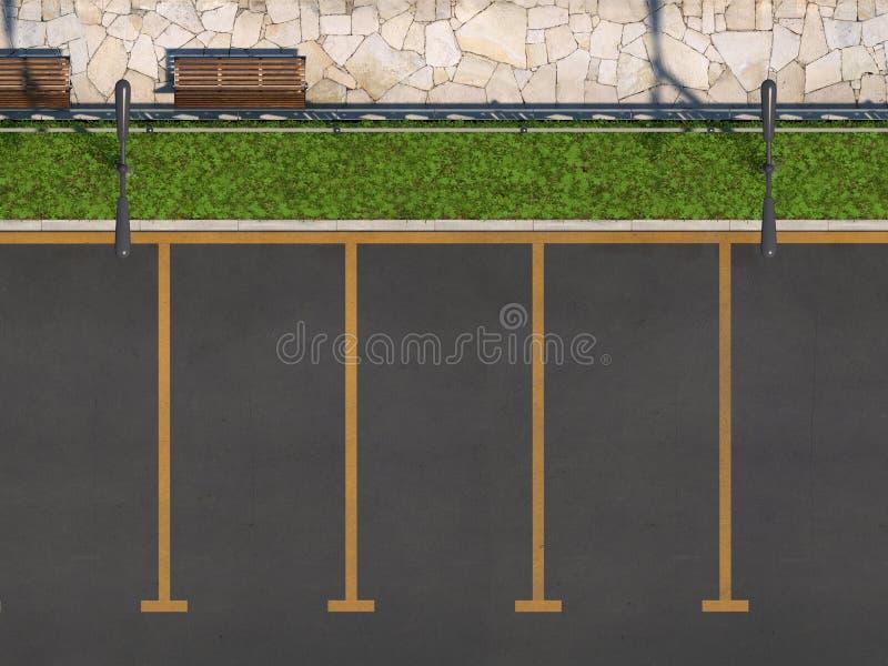 Carro vazio que estaciona sem carros Lugares de estacionamento, passeio para pedestres com um banco e cama de flor Vista superior ilustração do vetor