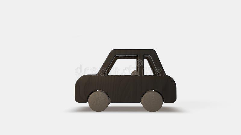 Carro velho de madeira do brinquedo ilustração stock