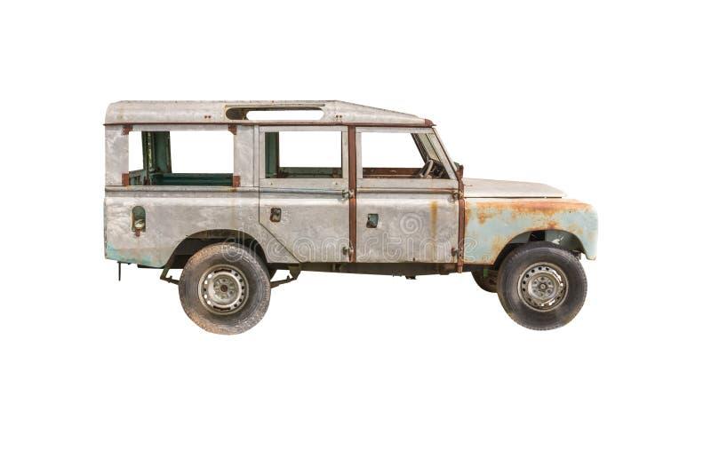 Carro velho, isolado no fundo branco imagem de stock