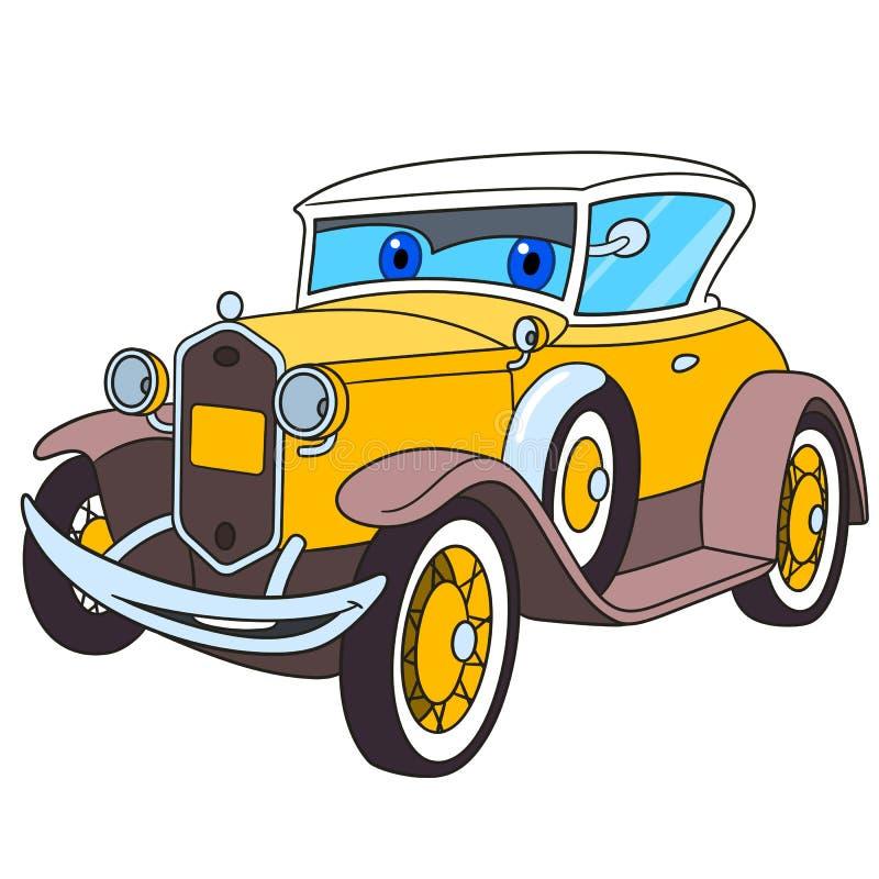 Carro velho retro dos desenhos animados ilustração do vetor