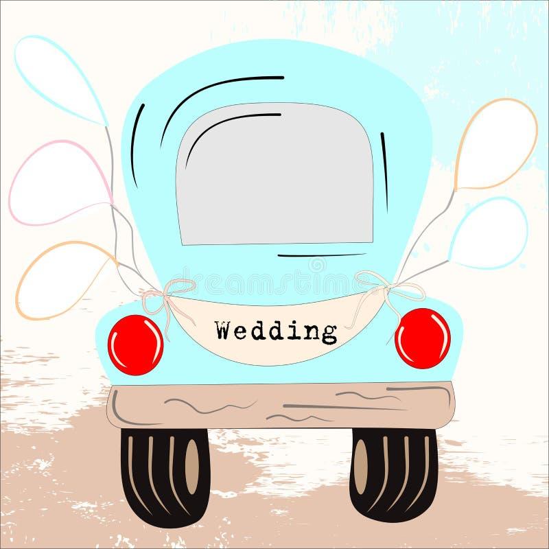 Carro velho retro em um fundo alaranjado com motivos florais em um trajeto ilustração royalty free