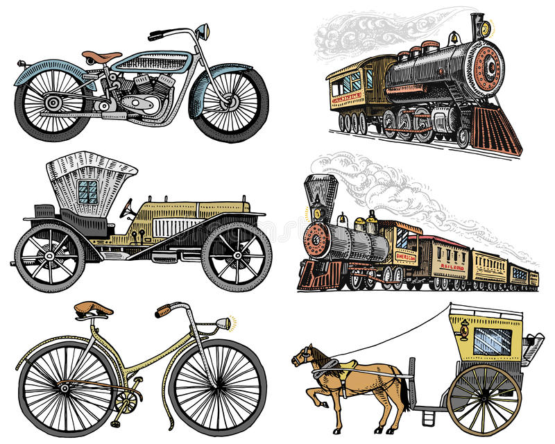 Carro, velomotor, transporte puxado por cavalos, locomotiva mão gravada tirada no estilo velho do esboço, transporte de passageir ilustração royalty free