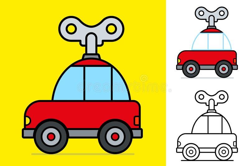 Carro ventoso dos desenhos animados vermelhos pequenos bonitos ilustração royalty free