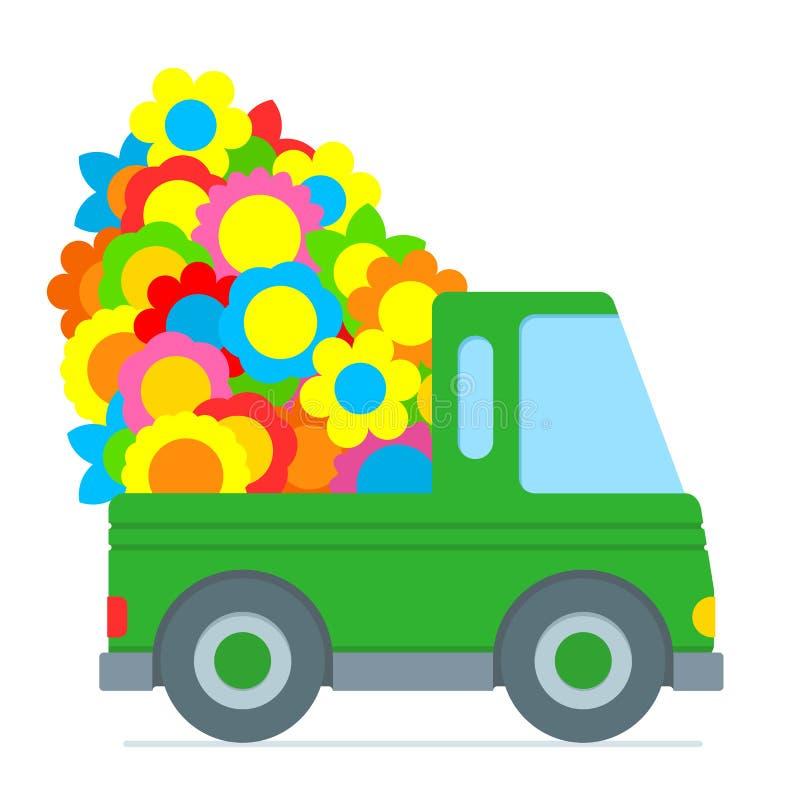Carro verde bonito dos desenhos animados que faz uma entrega da flor ilustração royalty free