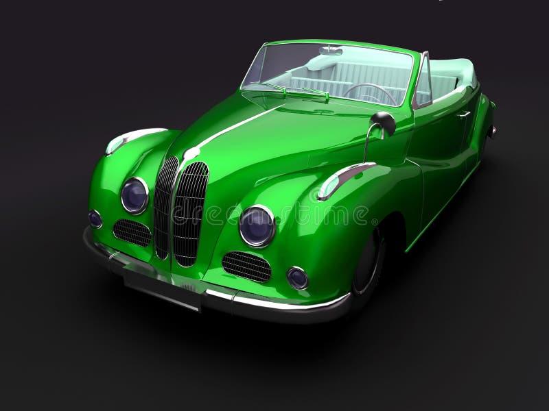 Carro verde do vintage no fundo escuro ilustração stock