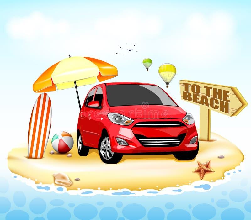 Carro vermelho à praia com a bola da prancha e de praia ilustração do vetor