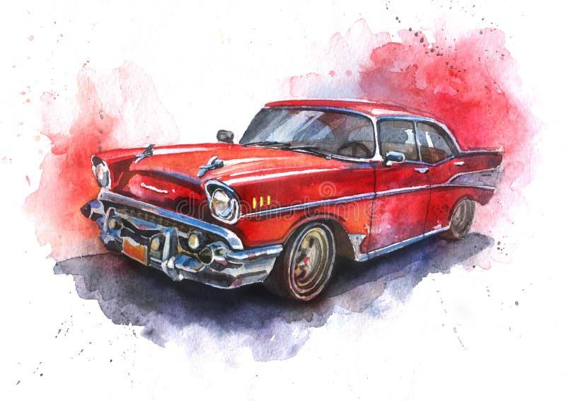 Carro vermelho antiquado desenhado à mão da aquarela ilustração stock