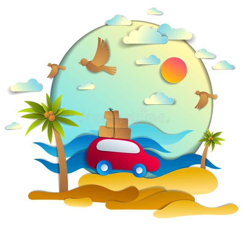 Carro vermelho com bagagem no seascape cênico com praia e palmas, ondas, pássaros e nuvens no céu, vetor do estilo do corte do pa ilustração do vetor