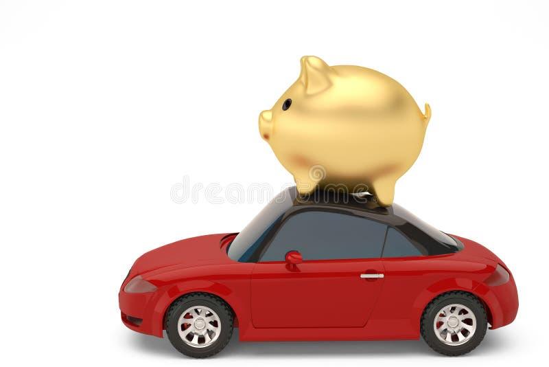 Carro vermelho com mealheiro do ouro ilustração 3D ilustração stock