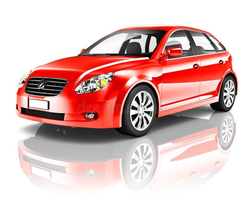 carro vermelho da parte traseira do portal 3D ilustração stock