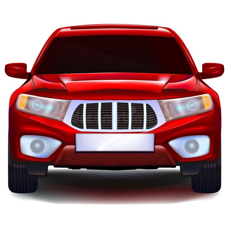 Carro vermelho do cruzamento com chapa de matrícula vazia ilustração royalty free