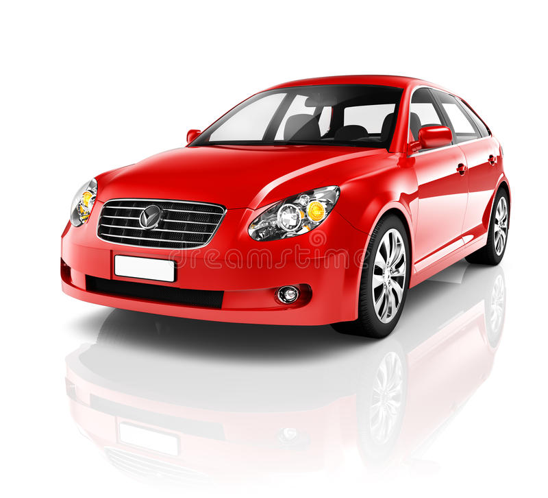 carro vermelho do sedan 3D luxuoso ilustração do vetor