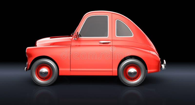 Carro vermelho dos desenhos animados no fundo preto ilustração royalty free