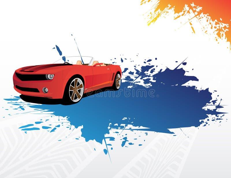 Carro vermelho e respingo azul ilustração do vetor