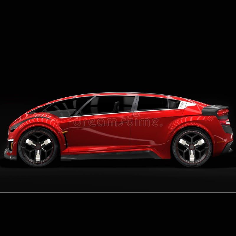 Carro vermelho novo em um fundo preto ilustração do vetor