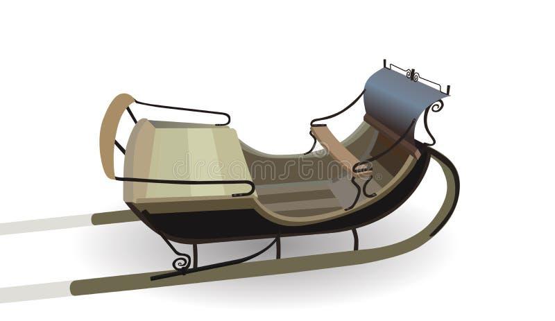 Carro viejo para los caballos Versión del invierno del trineo Aislado ilustración del vector