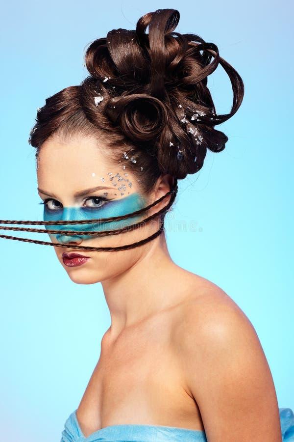Carrocería-arte del azul de la fantasía de la muchacha imagenes de archivo