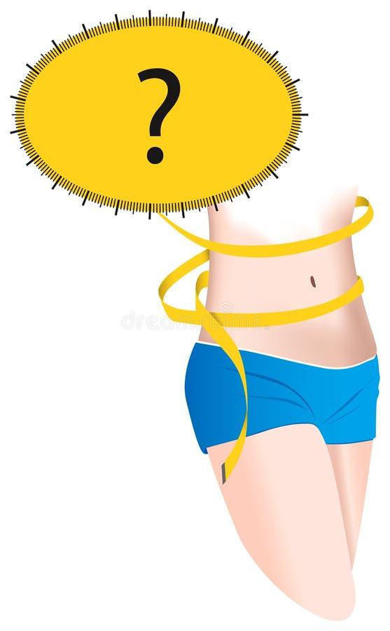 Carrocería de la mujer joven con cintura medida ilustración del vector