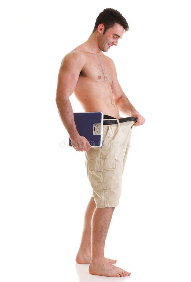 Carrocería masculina muscular de la escala aislada en blanco foto de archivo libre de regalías