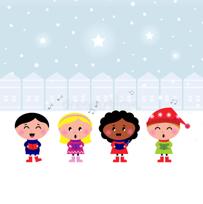 carroling的儿童圣诞节逗人喜爱的唱歌城镇 库存例证