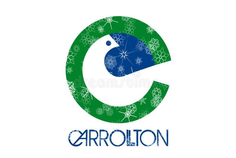 Carrollton, fundo da bandeira dos flocos de neve do inverno de Texas Estados Unidos da América ilustração do vetor
