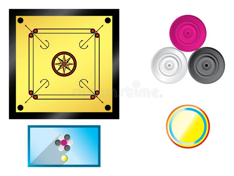 Carrom board flat with coins royalty free illustration