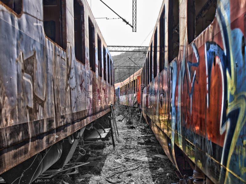Carros abandonados del tren fotografía de archivo libre de regalías