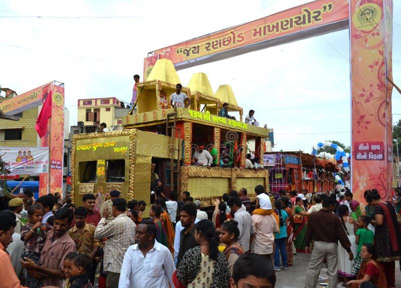 Carros adornados durante el viaje de Rathyatra fotos de archivo libres de regalías