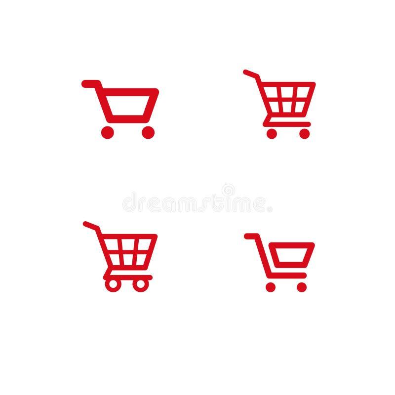 Carros ajustados, ícones isolados da loja foto de stock royalty free