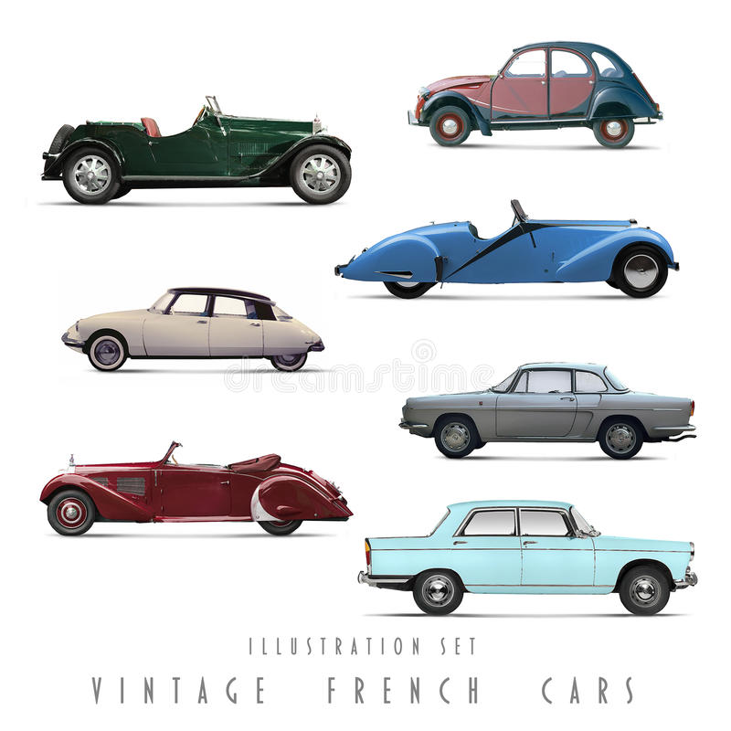 Carros ajustados do francês do vintage da ilustração ilustração stock