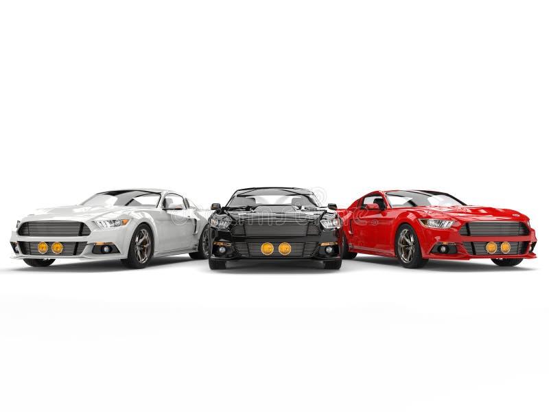 Carros americanos impressionantes do músculo - vermelho, preto e vermelho estacionados de lado a lado ilustração royalty free