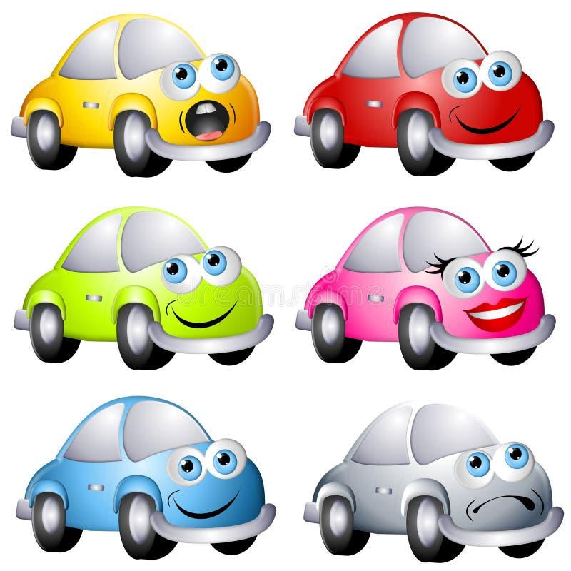 Carros Assorted do estilo do erro dos desenhos animados ilustração royalty free