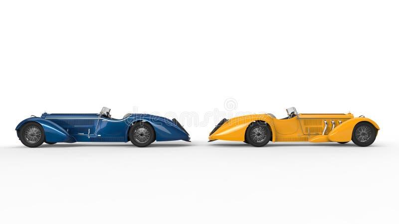 Carros azuis e amarelos do vintage ilustração royalty free