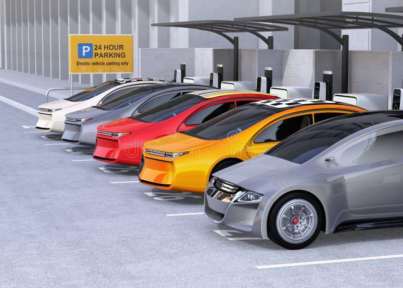 Carros bondes que carregam na estação de carregamento de EV ilustração stock