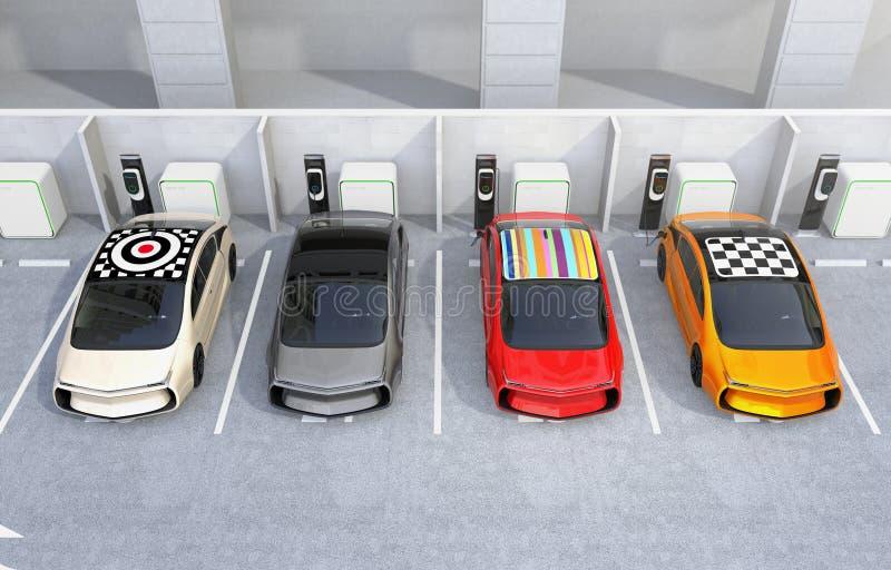 Carros bondes que carregam na estação de carregamento de EV ilustração do vetor