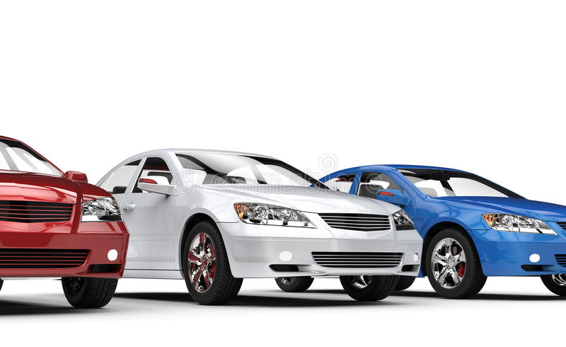 Carros brancos e azuis vermelhos ilustração stock