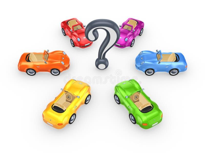 Carros coloridos em torno da marca da pergunta. ilustração royalty free