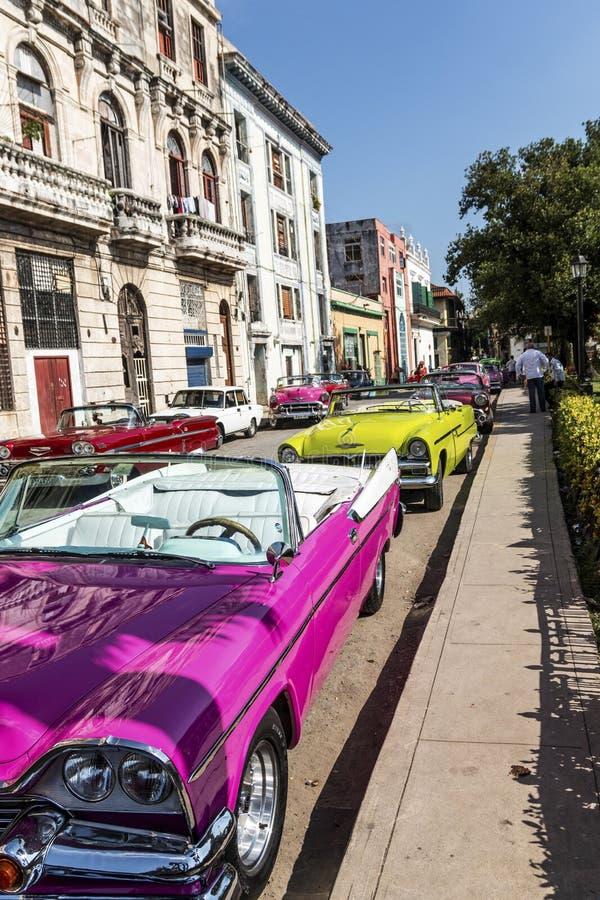Carros coloridos velhos estacionados em uma rua em Havana Cuba foto de stock royalty free