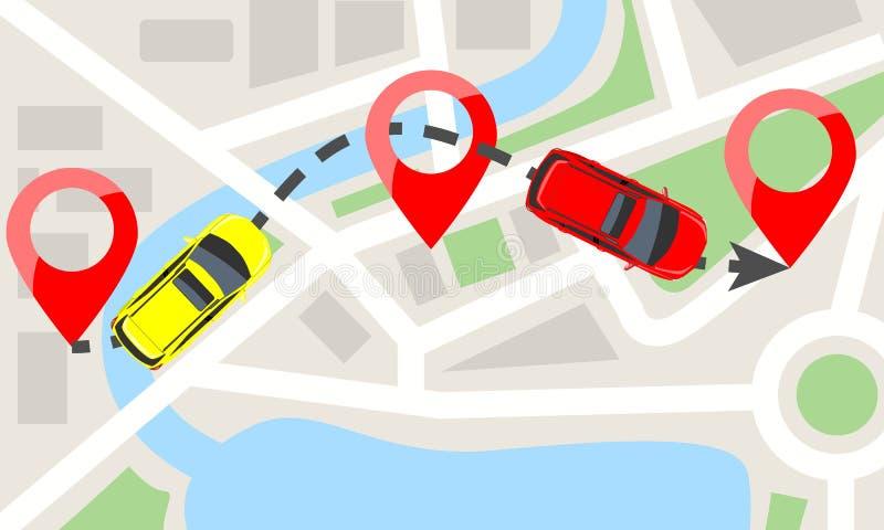 Carros com vista superior no mapa da cidade e nos pinos vermelhos Carro que move-se na linha pontilhada fuga Ilustração lisa do v ilustração do vetor
