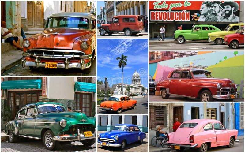 Carros cubanos do vintage foto de stock
