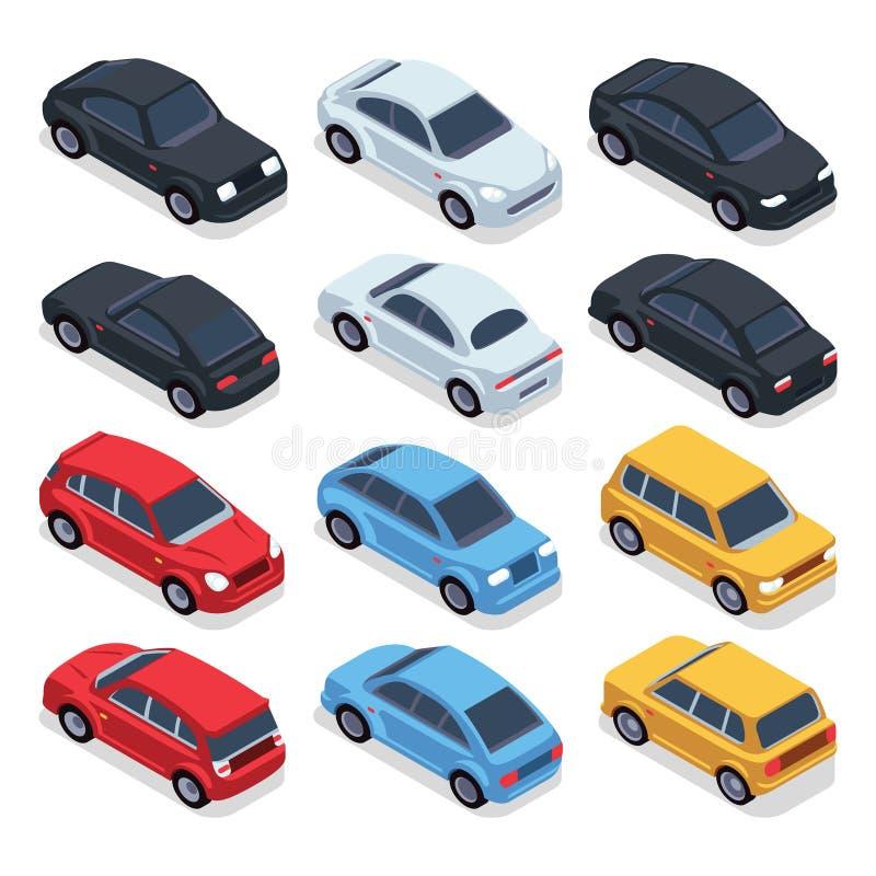 Carros 3d isométricos Veículos do vetor da tecnologia do transporte ajustados ilustração stock
