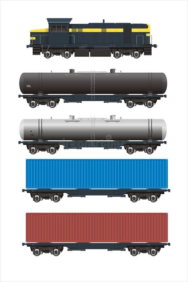 Carros da carga do trem + do trilho ajustados foto de stock royalty free