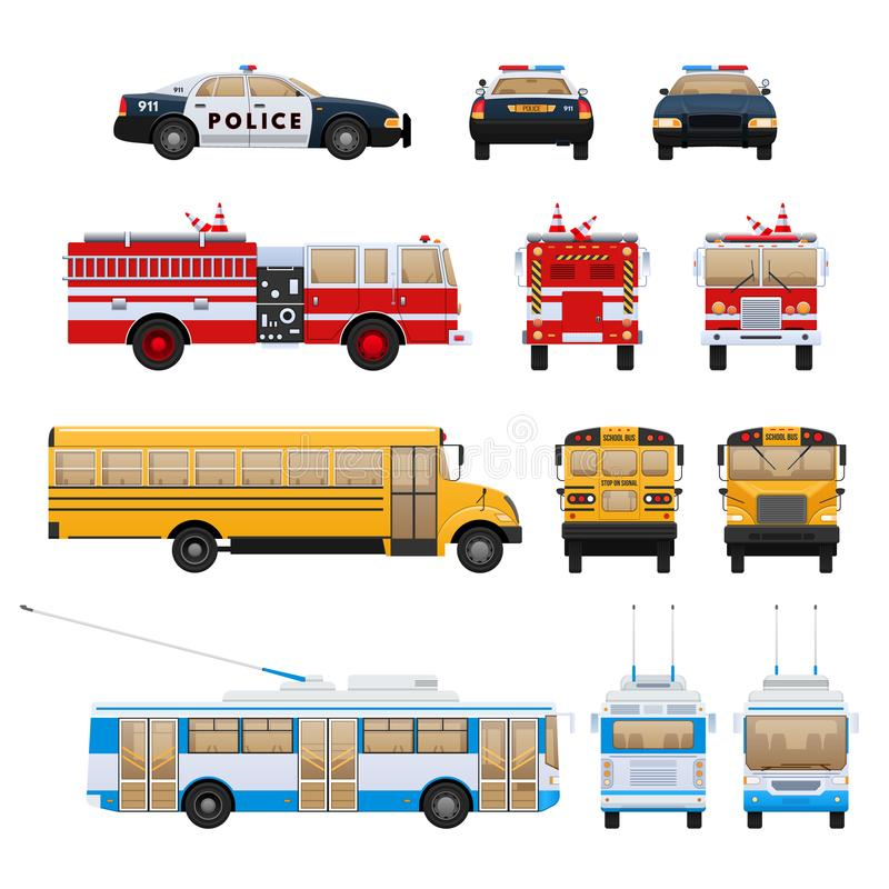 Carros da cidade, transporte: corpo de bombeiros, ônibus escolar, serviço de salvamento, polícia ilustração royalty free
