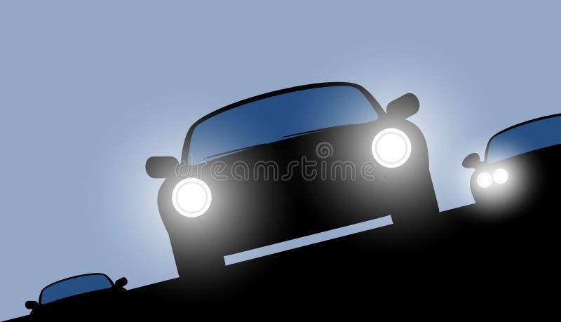 Carros da noite com faróis brilhantes ilustração stock