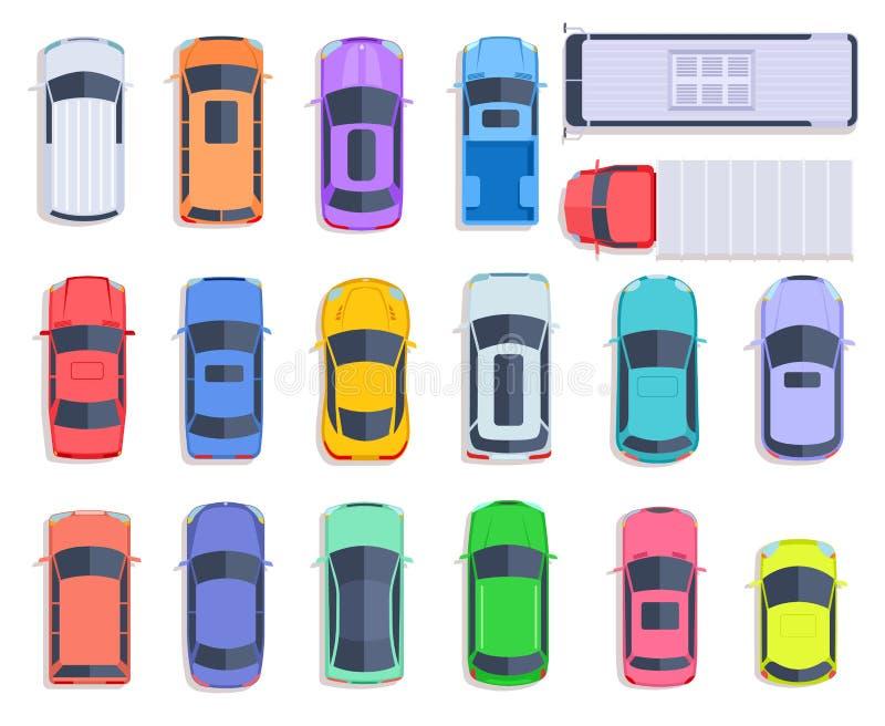Carros da vista superior Auto telhado do transporte, do caminhão e do carro do transporte do veículo Tráfego de cidade, plano do  ilustração stock