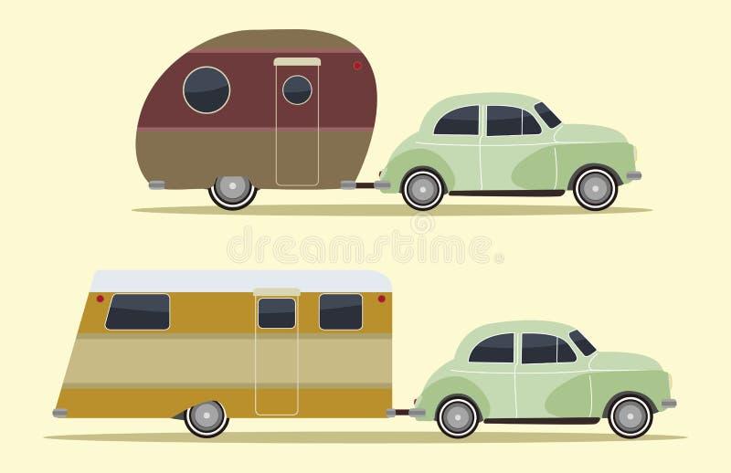 Carros de acampamento do vintage ilustração royalty free