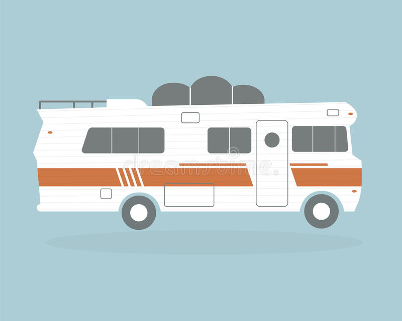 Carros de acampamento do vintage ilustração do vetor